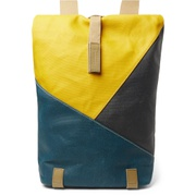 Brooks England Pickwick Small Leather-Trimmed Patchwork Coated Cotton-Canvas Backpack