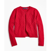 Brooksbrothers Girls Merino Wool Pointelle Cardigan
