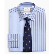Brooksbrothers Luxury Collection Milano Slim-Fit Dress Shirt, Franklin Spread Collar Herringbone Stripe