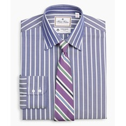 Brooksbrothers Luxury Collection Madison Classic-Fit Dress Shirt, Franklin Spread Collar Herringbone Stripe