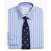 Brooksbrothers Luxury Collection Madison Classic-Fit Dress Shirt, Franklin Spread Collar Herringbone Wide Stripe