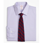 Brooksbrothers Stretch Madison Classic-Fit Dress Shirt, Non-Iron Poplin Ainsley Collar Gingham