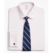 Brooksbrothers Stretch Soho Extra-Slim-Fit Dress Shirt, Non-Iron Twill Ainsley Collar French Cuff Bold Stripe