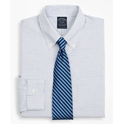 Brooksbrothers Stretch Big & Tall Dress Shirt, Non-Iron Poplin Button-Down Collar Small Grid Check