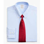 Brooksbrothers Stretch Soho Extra-Slim-Fit Dress Shirt, Non-Iron Royal Oxford Button-Down Collar Glen Plaid