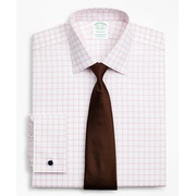 Brooksbrothers Stretch Milano Slim-Fit Dress Shirt, Non-Iron Twill Ainsley Collar French Cuff Grid Check