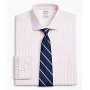 Brooksbrothers Stretch Regent Fitted Dress Shirt, Non-Iron Twill English Collar Bold Stripe