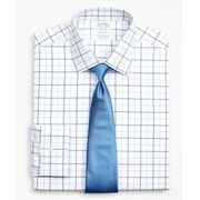 Brooksbrothers Stretch Milano Slim-Fit Dress Shirt, Non-Iron Poplin Ainsley Collar Double-Grid Check