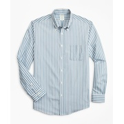Brooksbrothers Milano Slim-Fit Sport Shirt, Performance Series with COOLMAX, Stripe