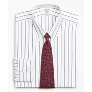 Brooksbrothers Milano Slim-Fit Dress Shirt, Non-Iron Royal Oxford Stripe