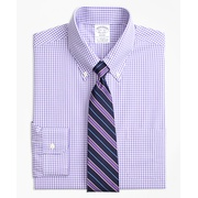 Brooksbrothers Stretch Regent Fitted Dress Shirt, Non-Iron Gingham