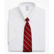 Brooksbrothers Stretch Regent Fitted Dress Shirt, Non-Iron Pinpoint Short-Sleeve