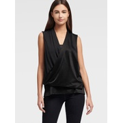 DKNY GLOSSY FAUX WRAP TOP
