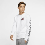 Jordan Classics Long Sleeve Crew T-Shirt - Mens / White/Black