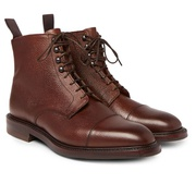 Kingsman George Cleverley Cap-Toe Pebble-Grain Leather Boots
