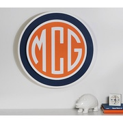 Potterybarn Navy/Orange Preppy Circle Monogram